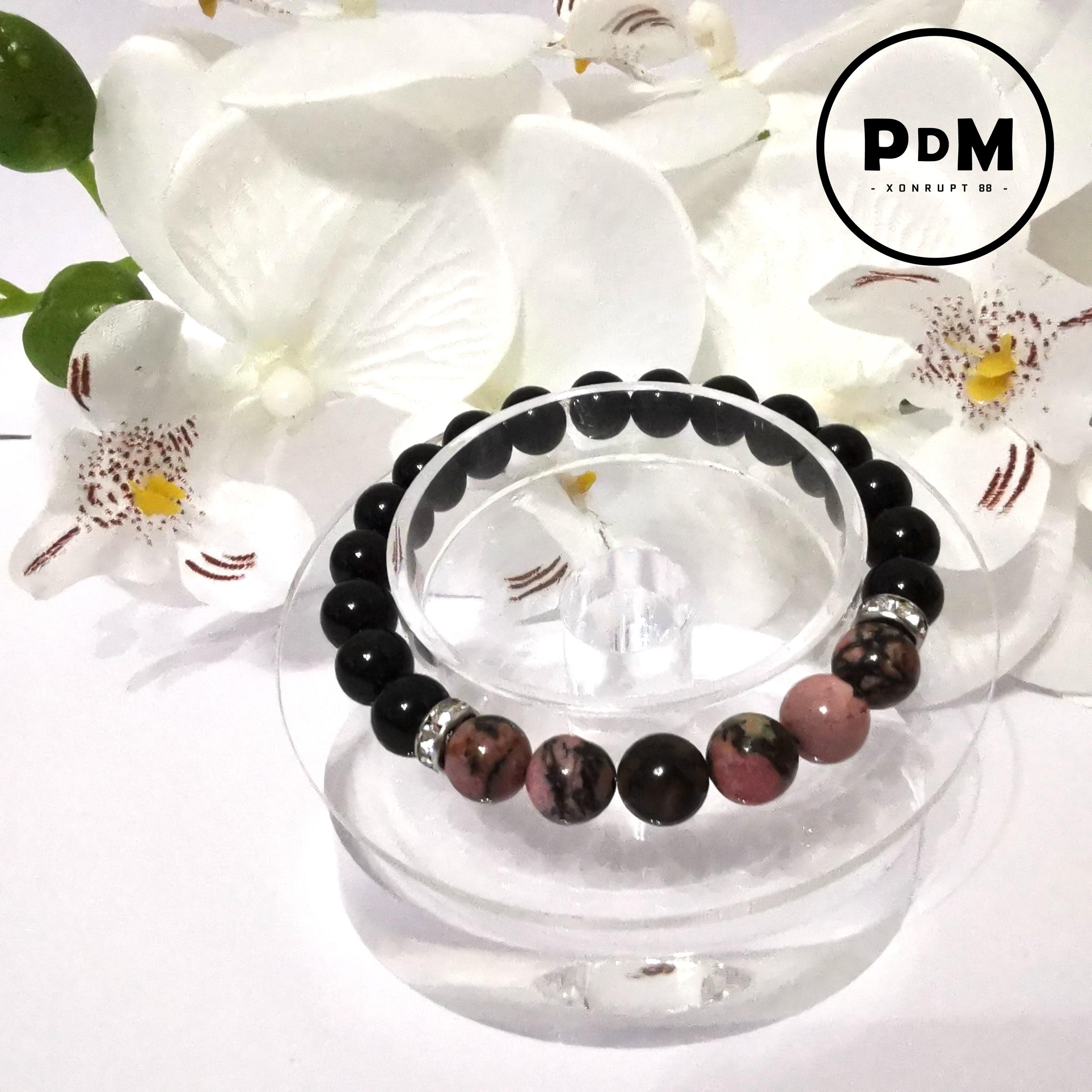 Bracelet Astro Capricorne Agate noire et Rhodonite en pierre naturelle avec strass acier