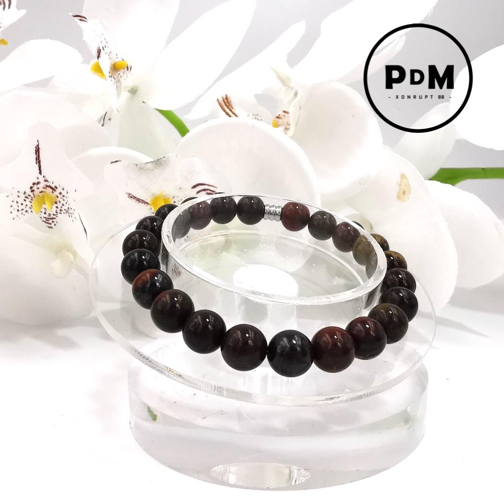Bracelet Oeil de Fer en pierre naturelle perle 8 mm
