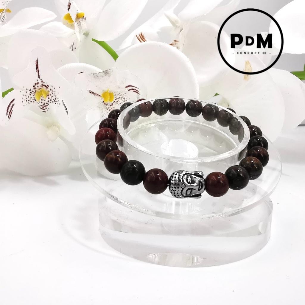 Bracelet Oeil de Fer en pierre naturelle perle 8 mm avec tête de Bouddha