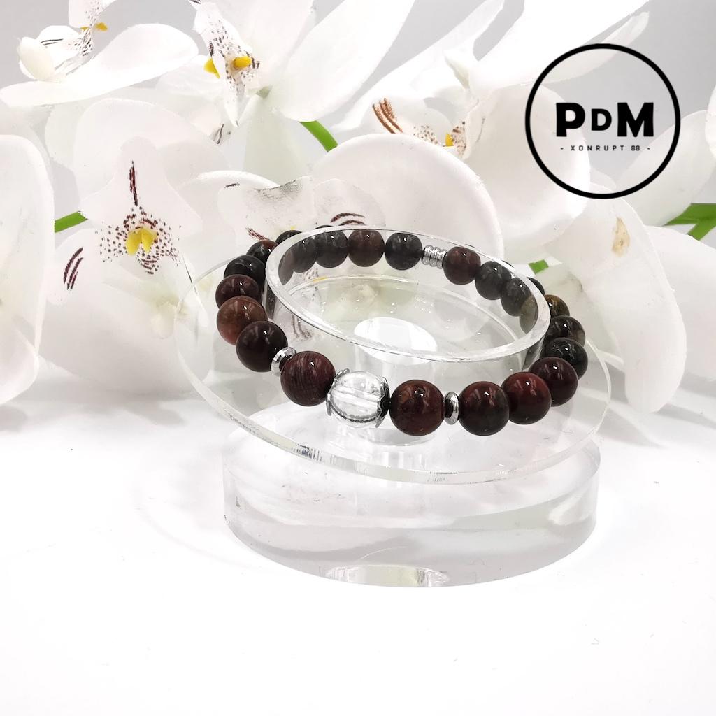 Bracelet Oeil de Fer en pierre naturelle perle 8 mm avec perle de Quartz blanc et décor acier