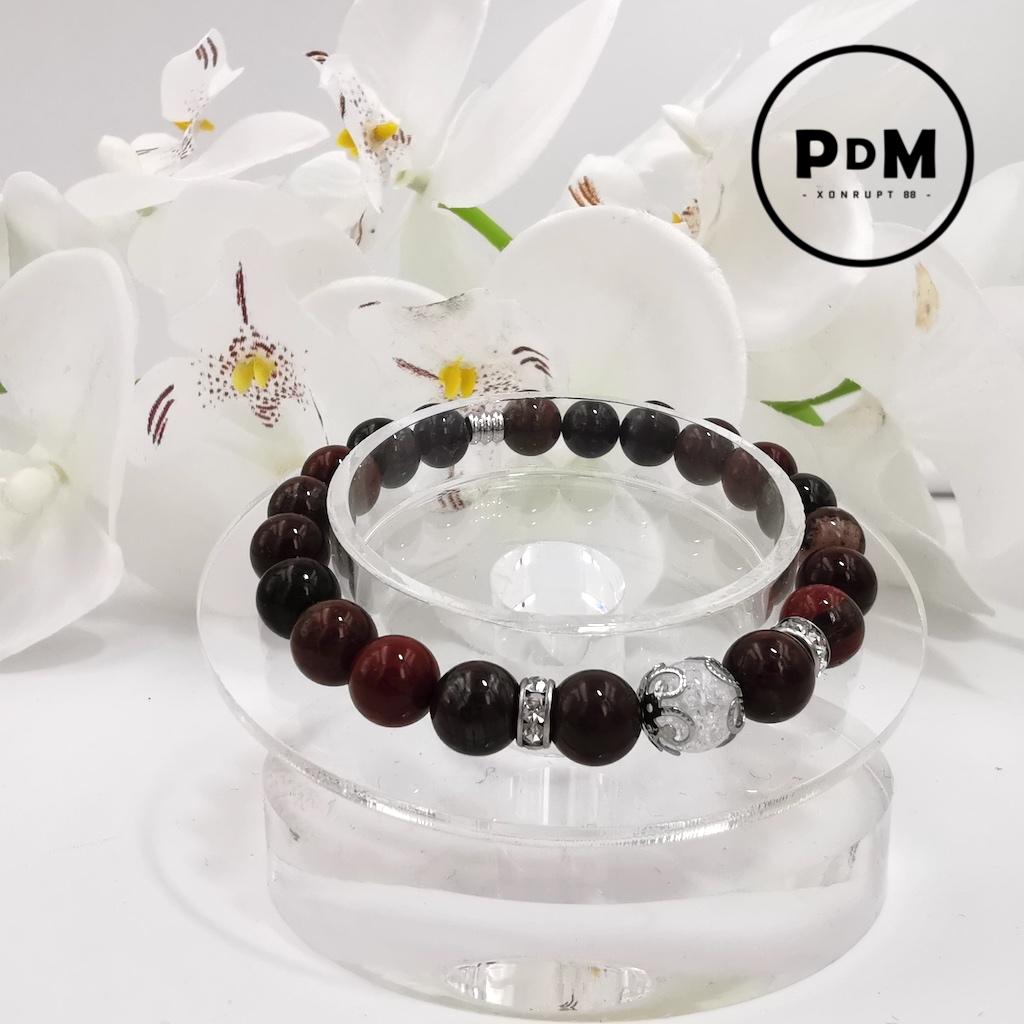 Bracelet Oeil de Fer en pierre naturelle perle 8 mm avec perle de Quartz blanc craquelé strass et acier