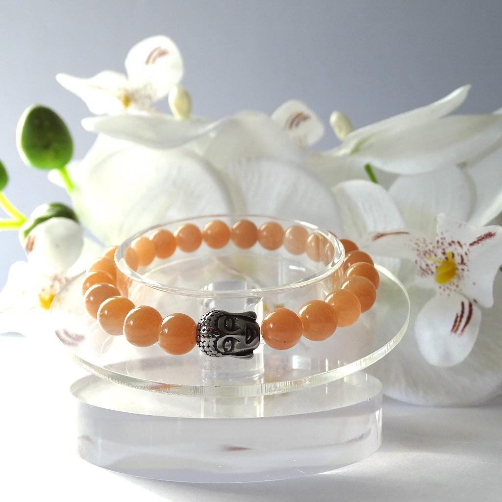 Bracelet Pierre de soleil en pierre naturelle avec tête de Bouddha