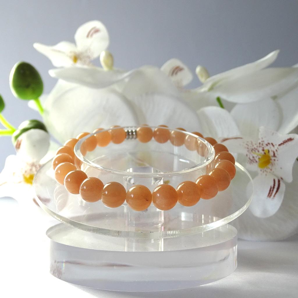 Bracelet Boule Pierre De Soleil en pierre naturelle perle 8 mm