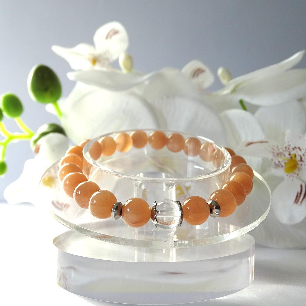 Bracelet Pierre de Soleil en pierre naturelle perle 8 mm avec perle de Quartz blanc et acier