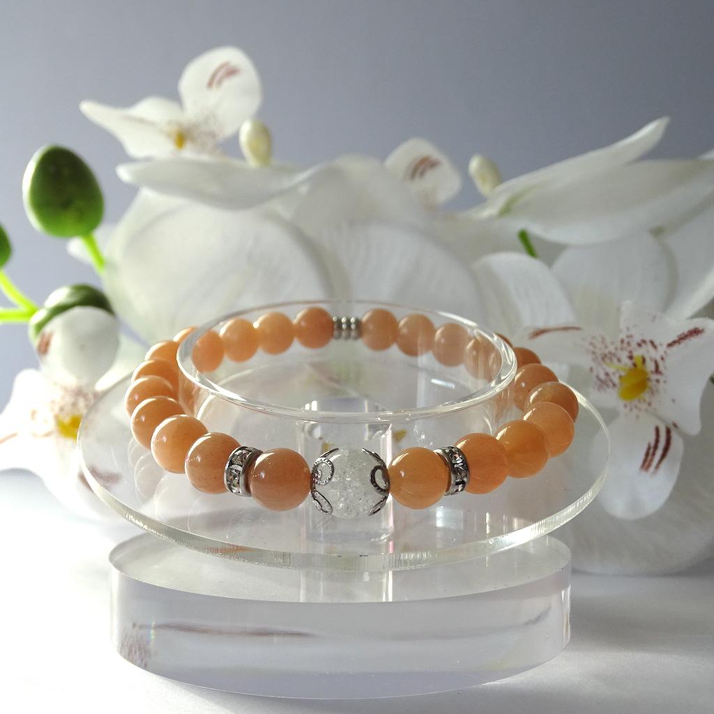 Bracelet en Pierre de Soleil en pierre naturelle perle 8 mm avec perle de Quartz blanc craquelé strass et acier