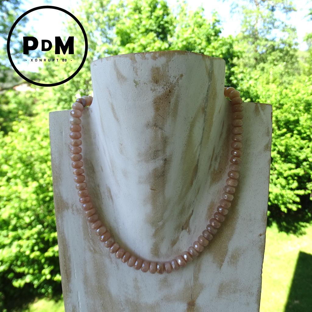 Collier Pierre de Soleil en pierre naturelle perles rondelles facettées