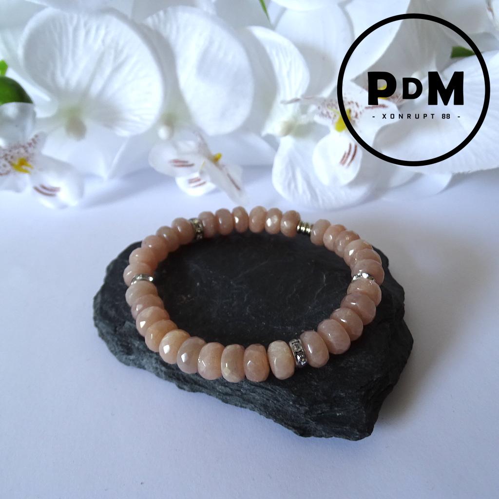 Bracelet Pierre de Soleil en pierre naturelle perles rondelles facettées