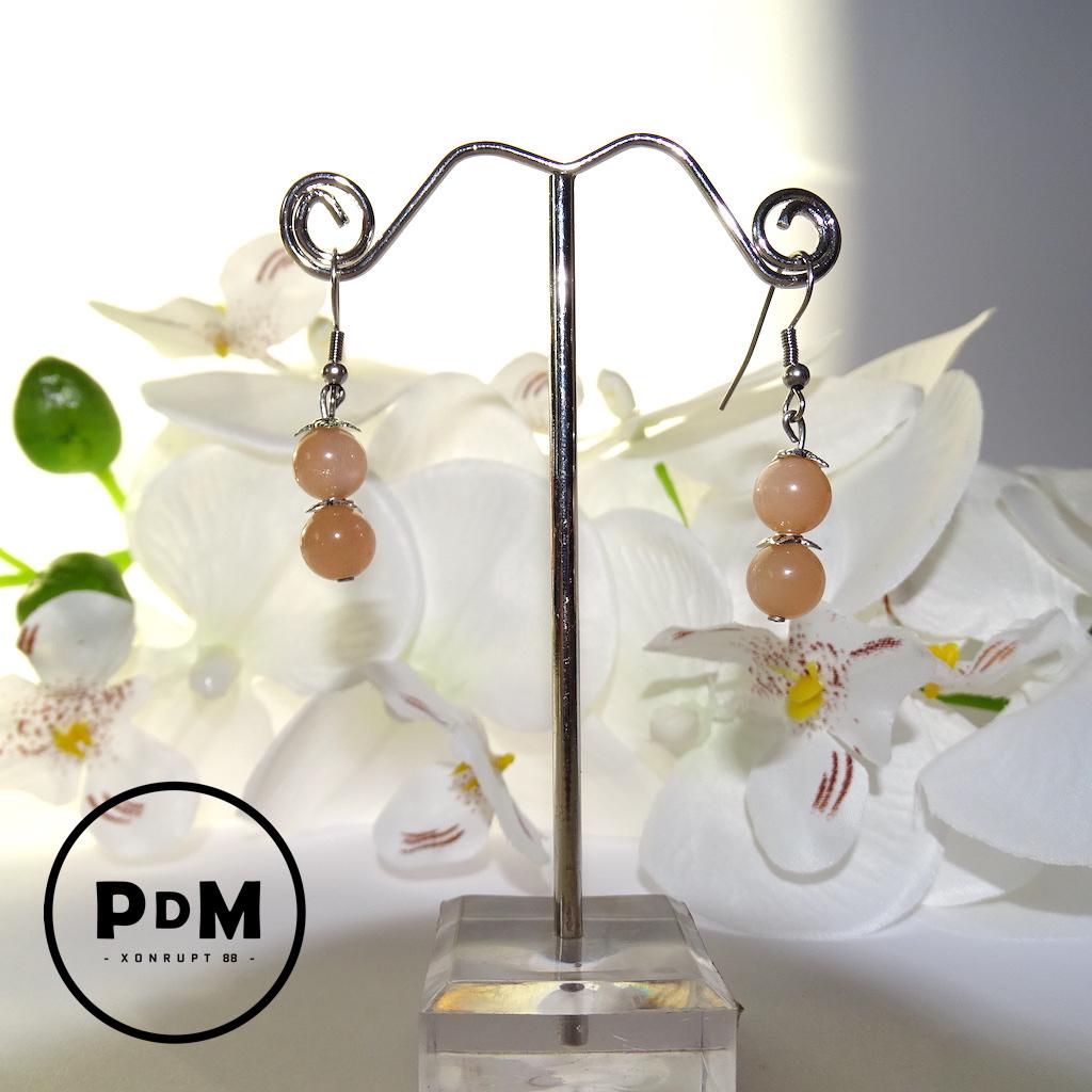 Boucles d\'oreilles Duo Pierre de Soleil en pierre naturelle perle 8 mm fleurs et montage acier