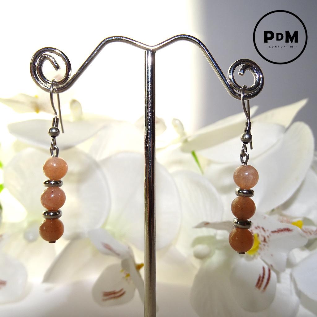 Boucles d\'oreilles trio Pierre de Soleil en pierre naturelle perle 6 mm décor et montage acier