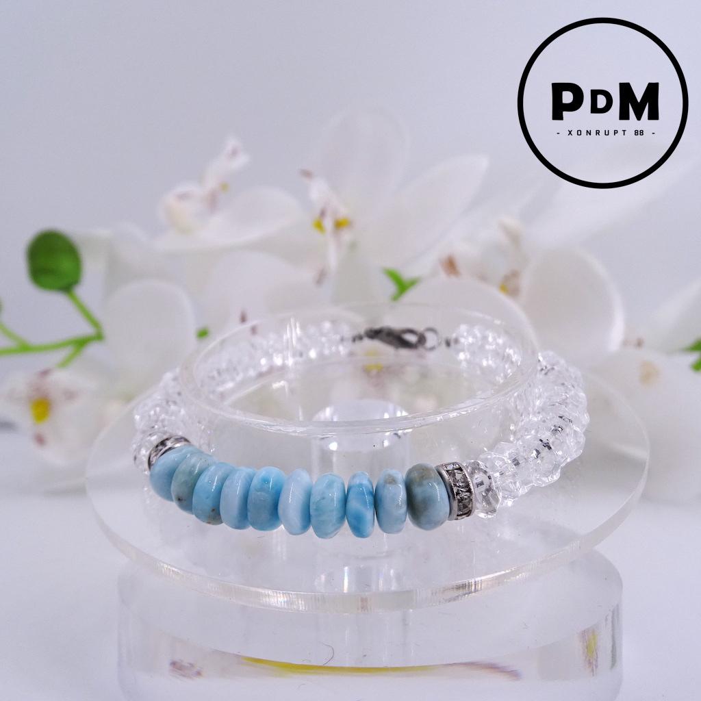 Bracelet Larimar et Quartz blanc en pierre naturelle perle forme disque montage et décor acier
