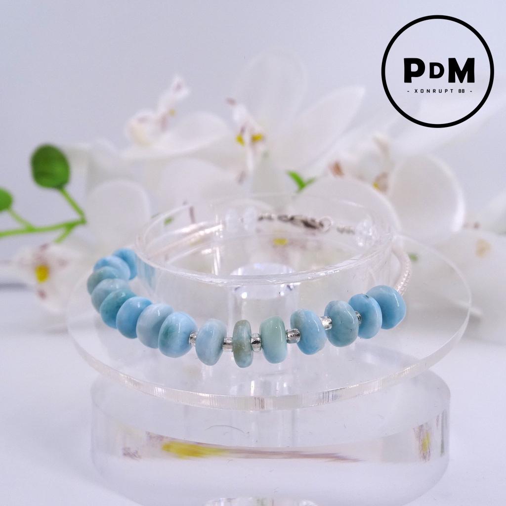 Bracelet Larimar et Quartz blanc en pierre naturelle perle disque montage argent