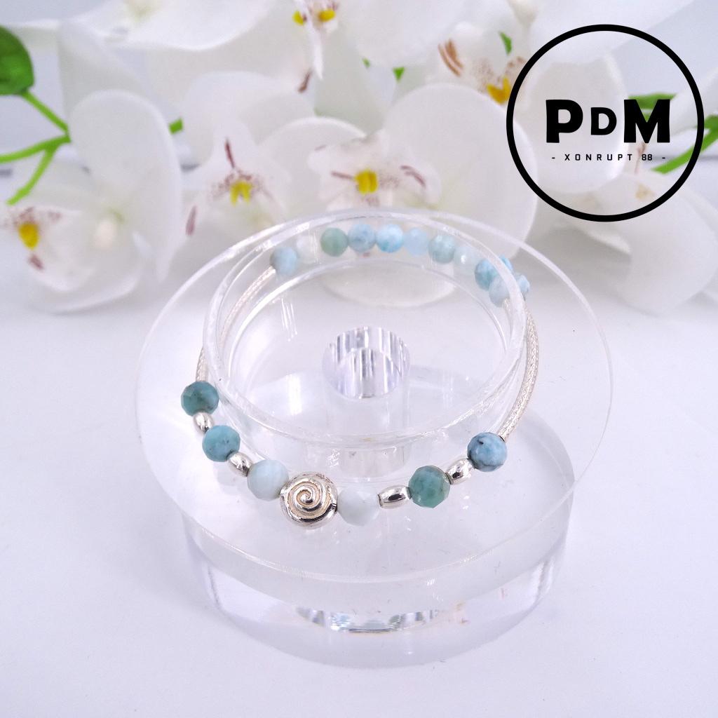 Bracelet Larimar en pierre naturelle perle ronde facette décor et montage argent