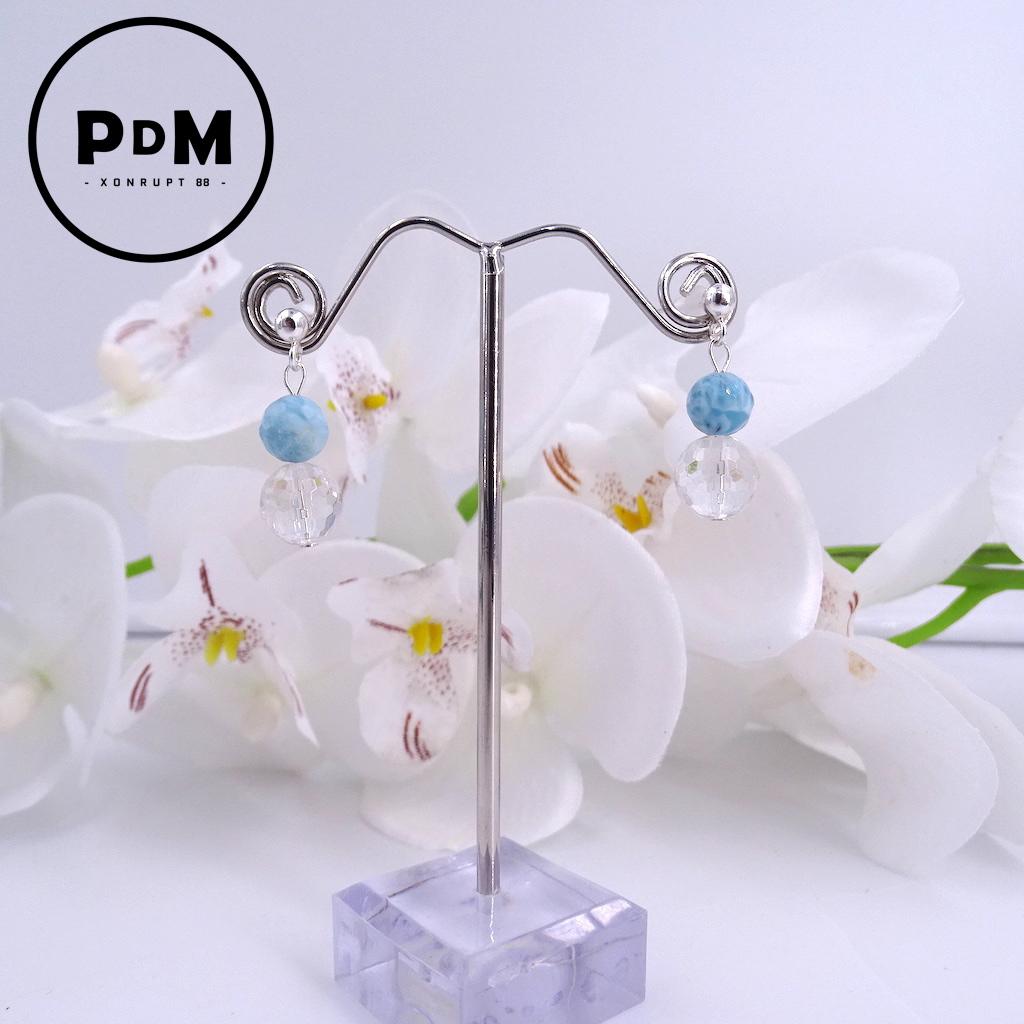 Boucles d\'oreilles puce Larimar et Quartz blanc perle ronde facette montage argent