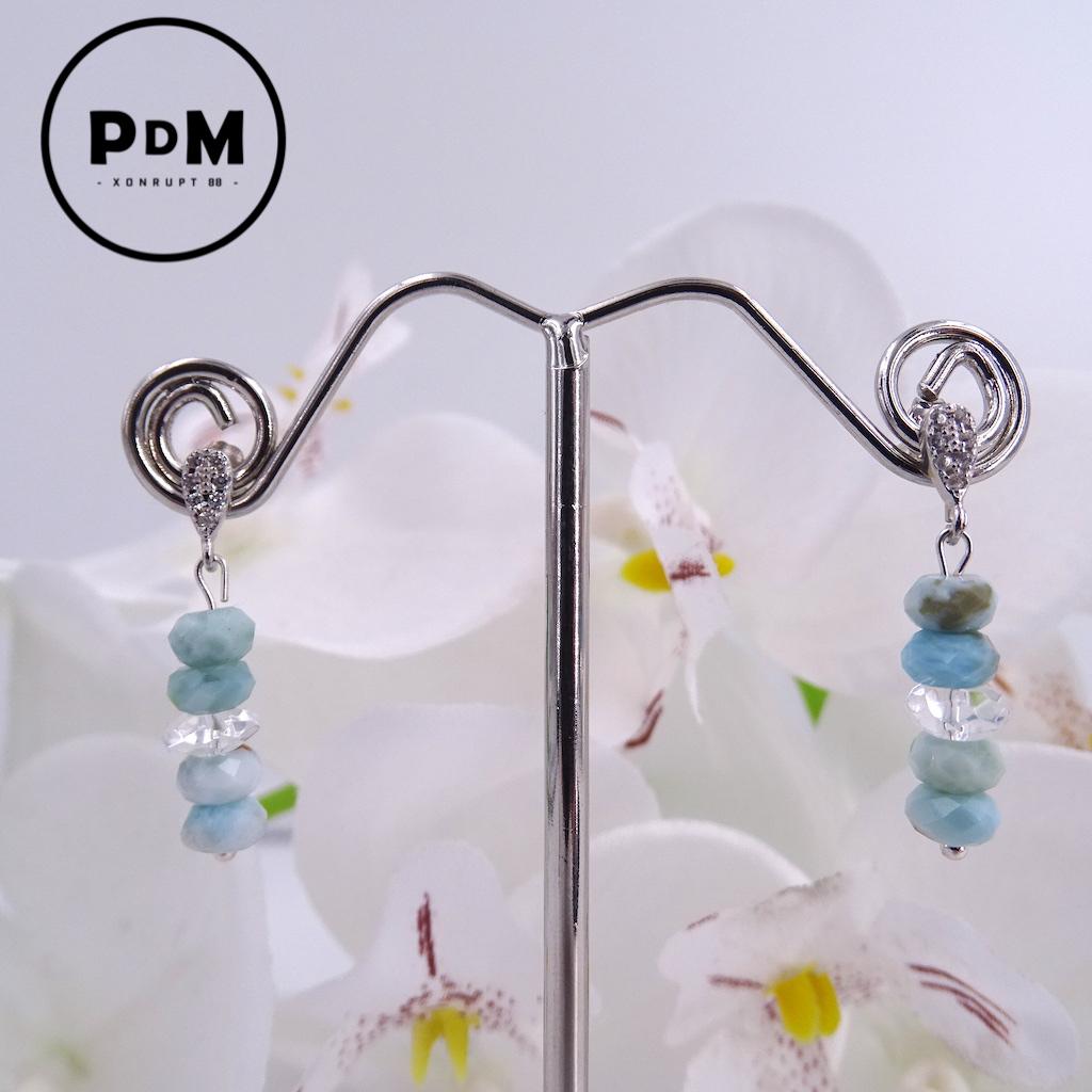 Boucles d\'oreilles puce Larimar et Quartz blanc en pierre naturelle perles disque facettées montage argent