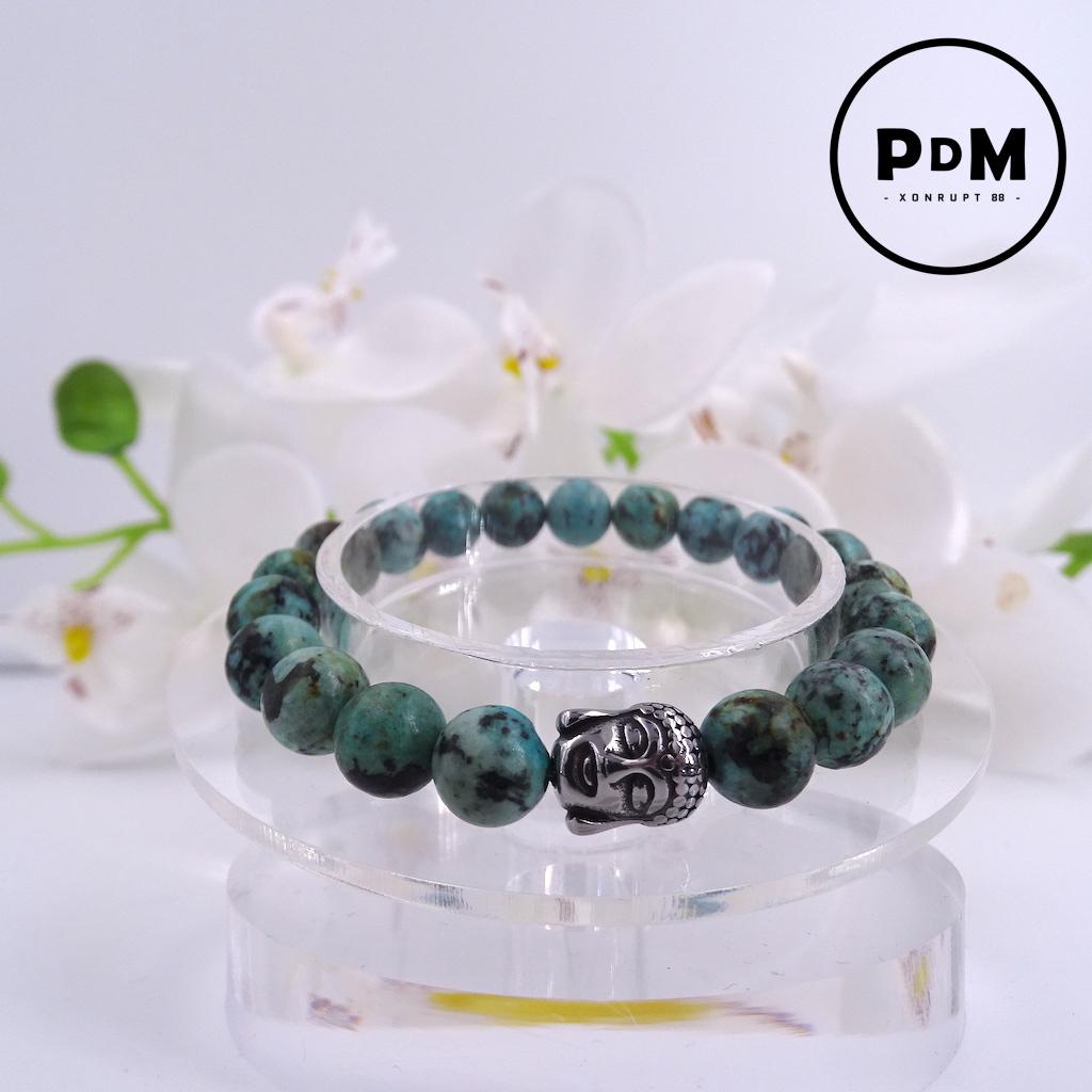 Bracelet Turquoise en pierre naturelle perle 8 mm avec tête de Bouddha
