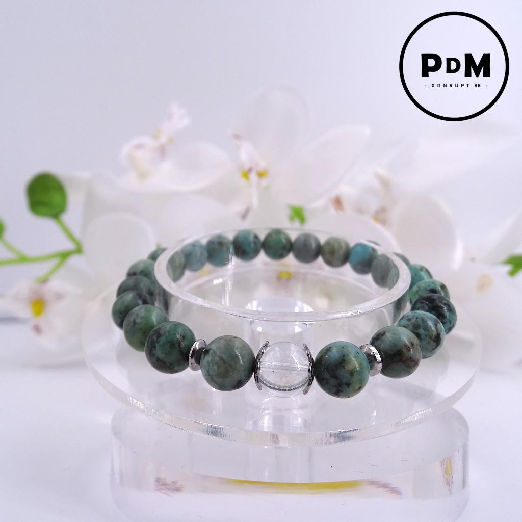 Bracelet Turquoise en pierre naturelle perle 8 mm avec perle de Quartz blanc et décor acier