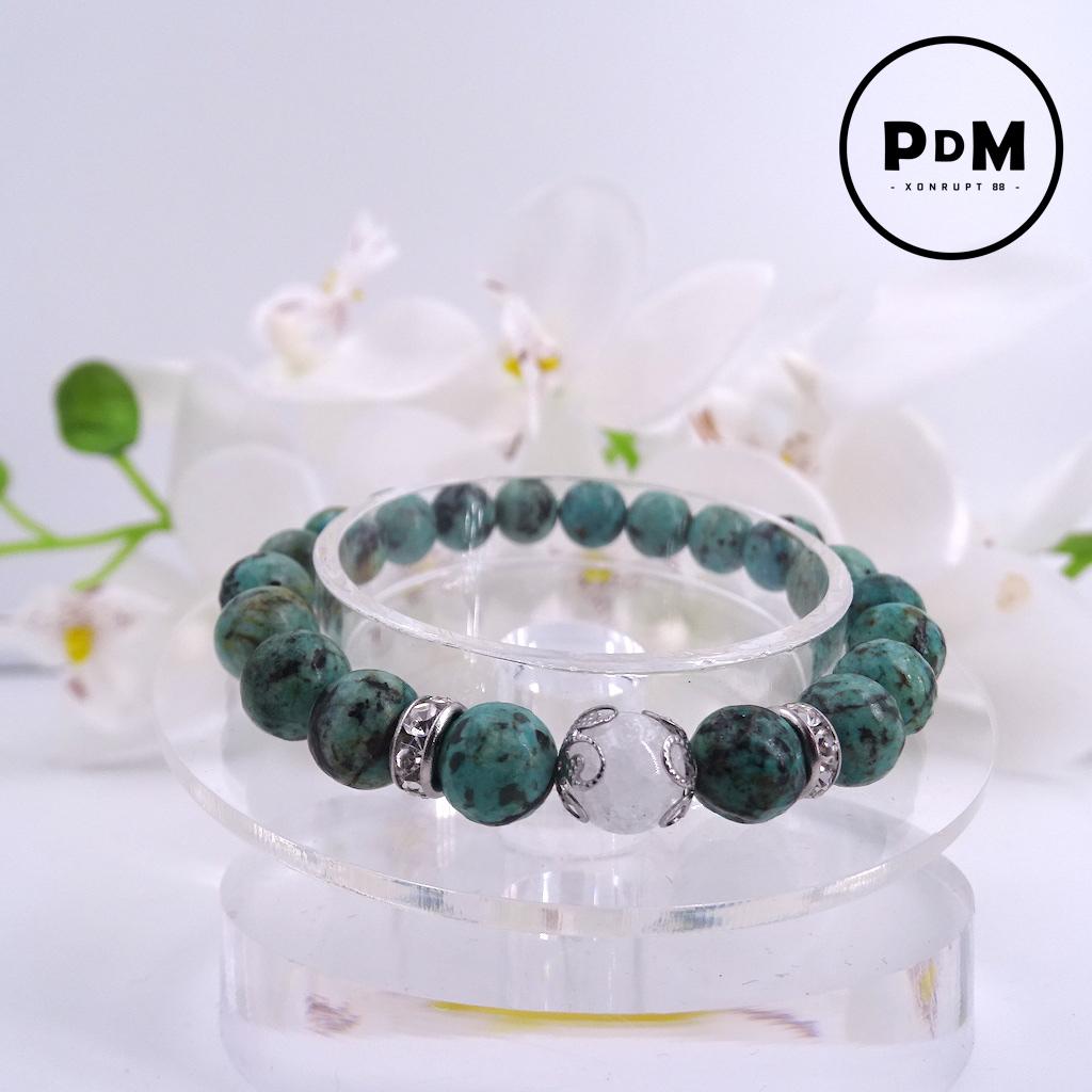 Bracelet Turquoise en pierre naturelle perle 8 mm avec perle de Quartz blanc craquelé strass et acier