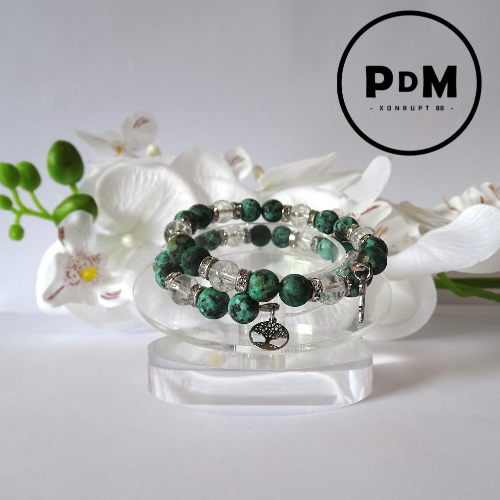 Bracelet Turquoise et Quartz blanc en pierre naturelle perle 8 mm spirale double avec strass et décor acier