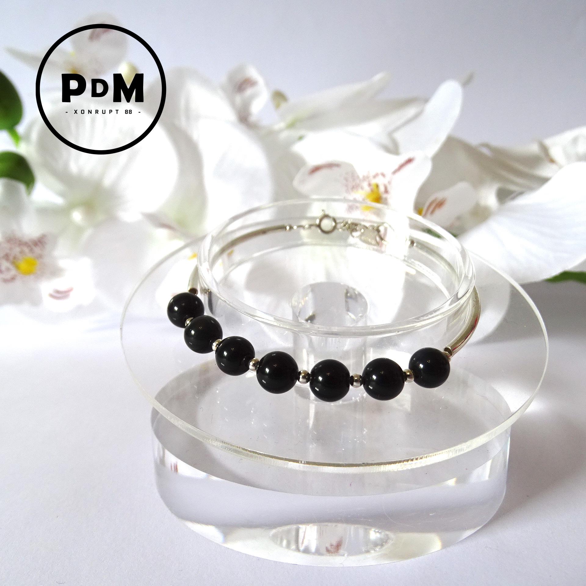Bracelet argent avec petite boule en pierre naturelle d\'Obsidienne oeil céleste
