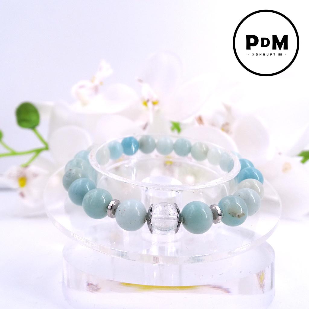Bracelet Amazonite en pierre naturelle perle 8 mm avec perle de Quartz blanc craquelé strass et acier