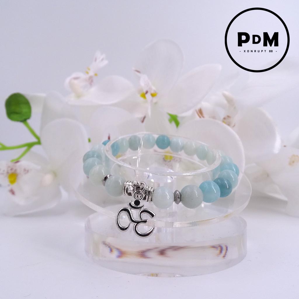 Bracelet Amazonite en pierre naturelle perle 8 mm avec symbole ohm