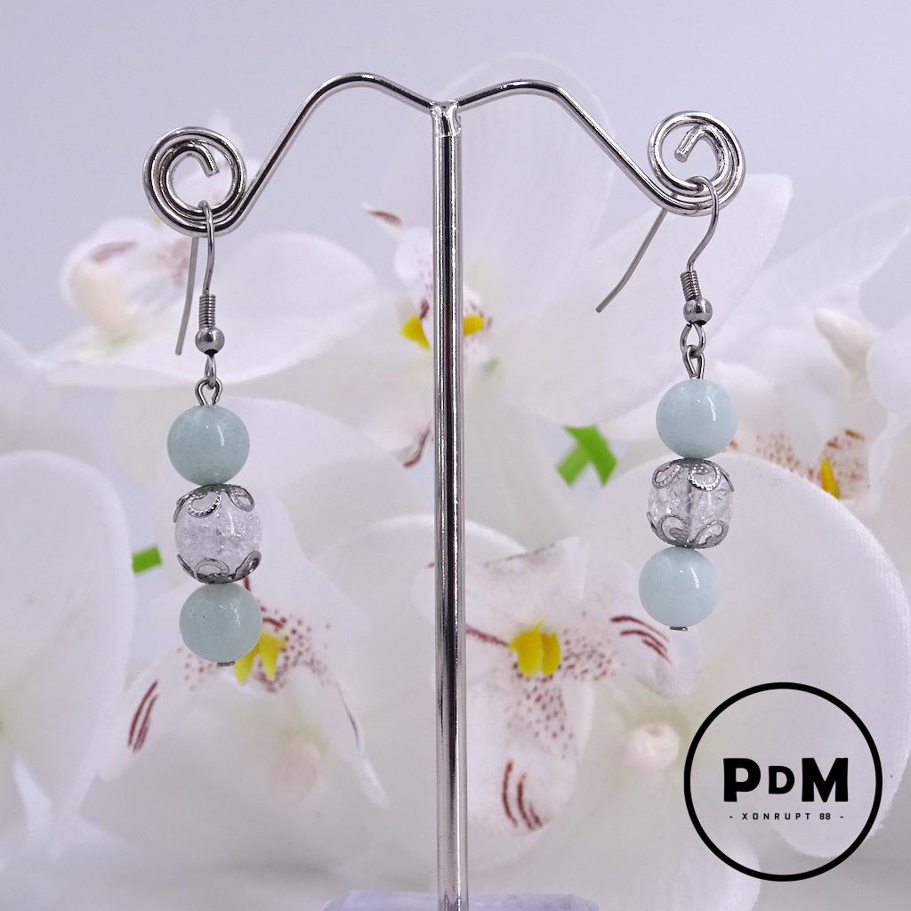 Boucles d\'oreilles Trio Amazonite et Quartz blanc craquelé en pierre naturelle perle 8 mm décor fleurs et montage acier
