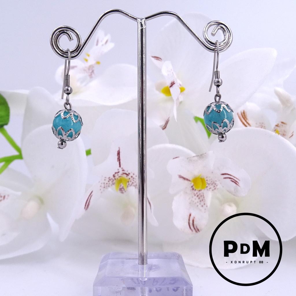 Boucles d\'oreilles Amazonite en pierre naturelle perle 10 mm décor fleurs et montage acier