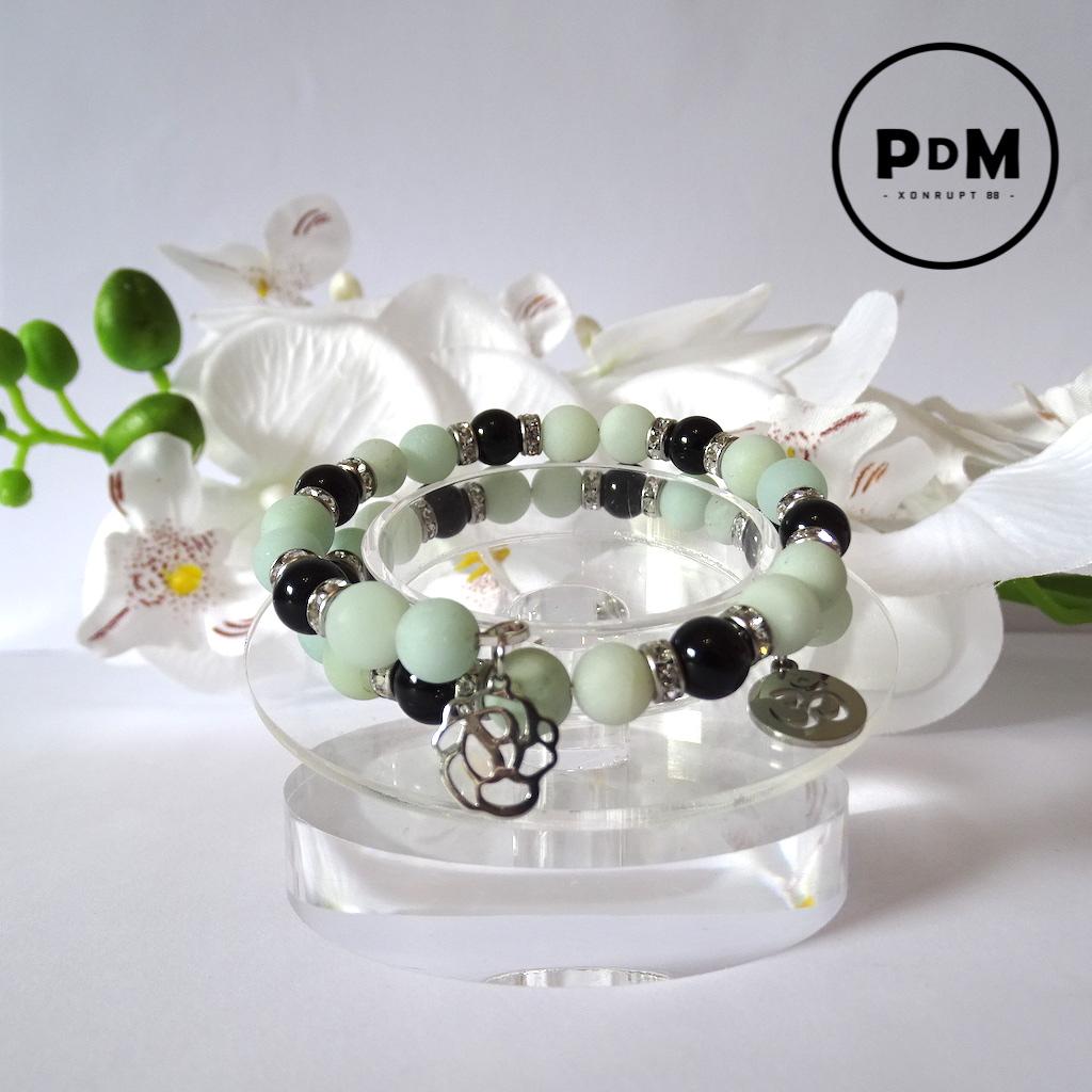 Bracelet Amazonite et Agate noire en pierre naturelle perle 8 mm spirale double avec strass et décor acier