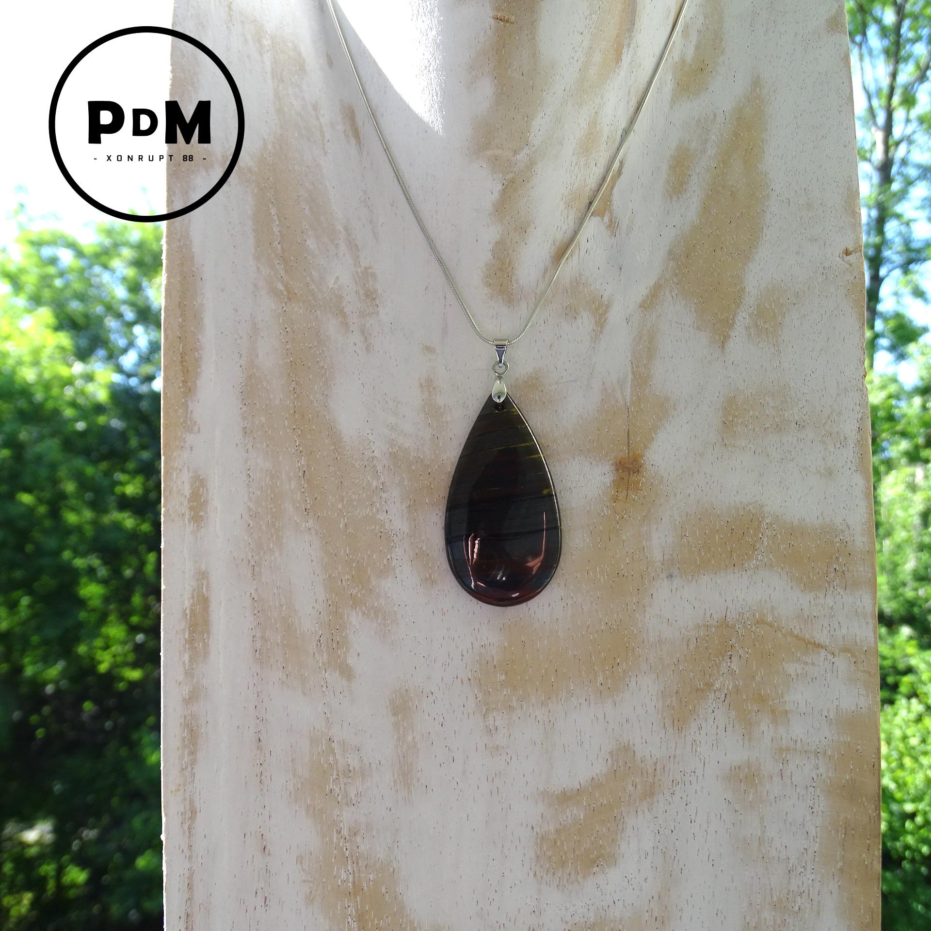 Pendentif Oeil de Fer en pierre naturelle forme goutte avec bélière acier