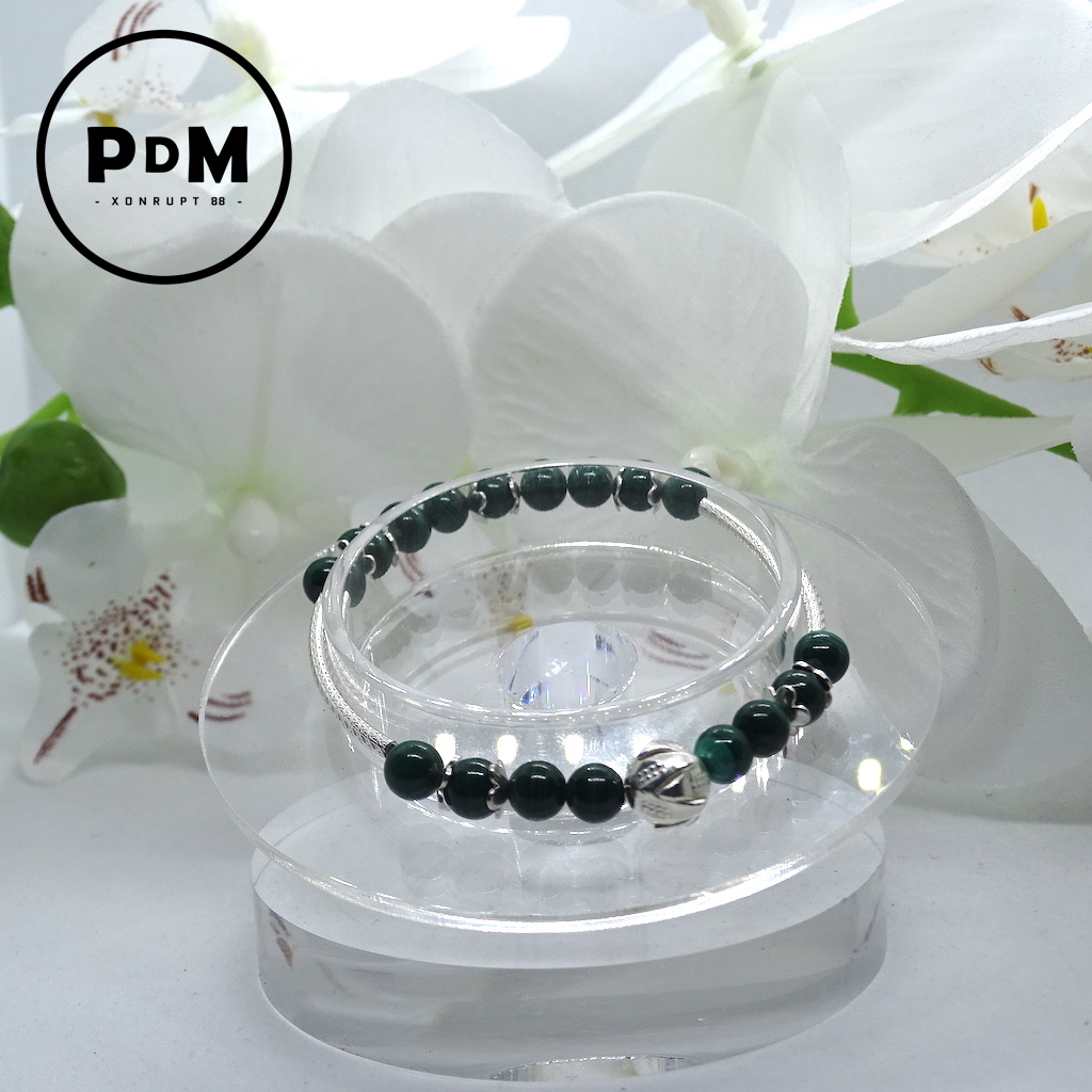 Bracelet Malachite en pierre naturelle perle 6 mm décor et montage argent