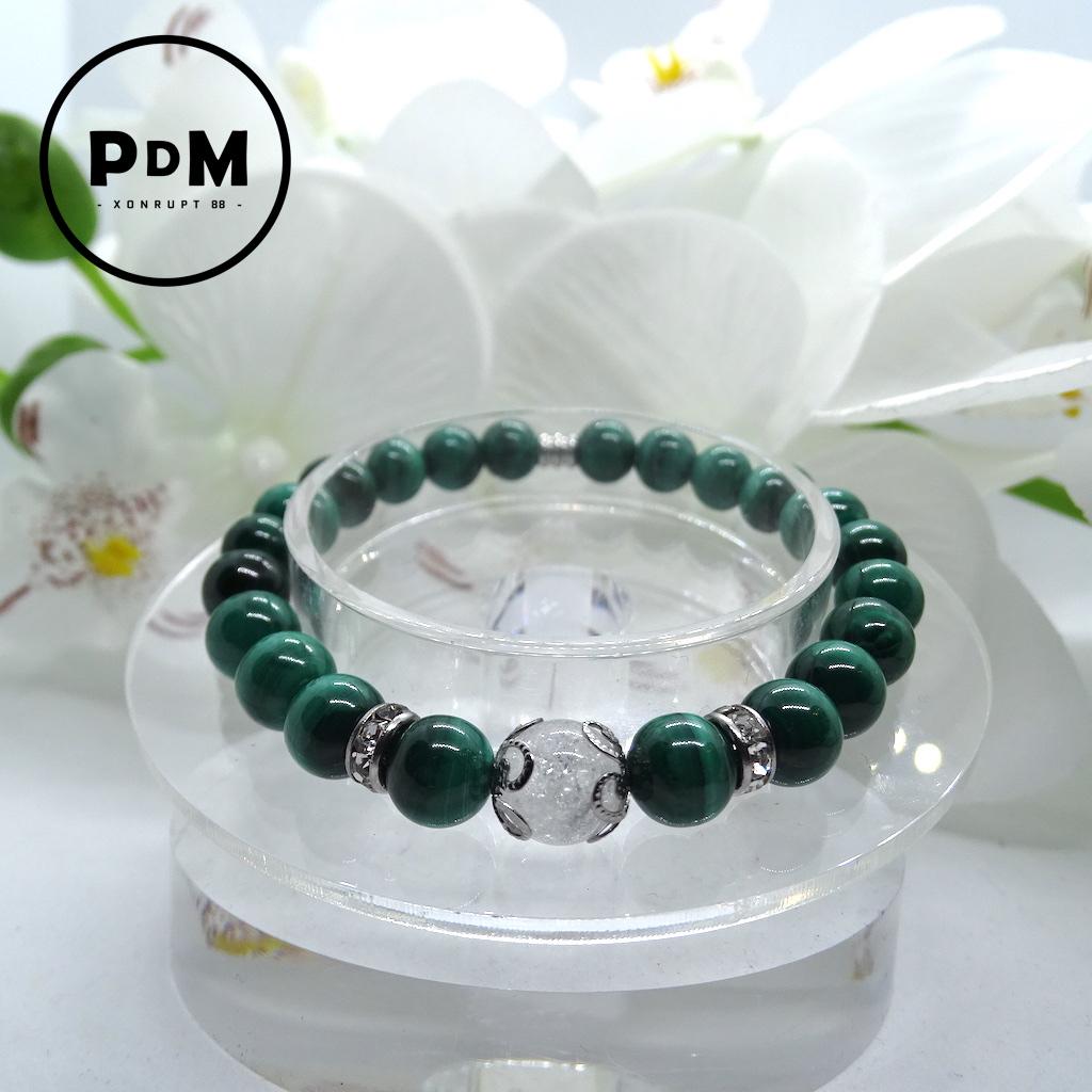 Bracelet boule 8mm Malachite avec perle de quartz craquelé, strass et acier