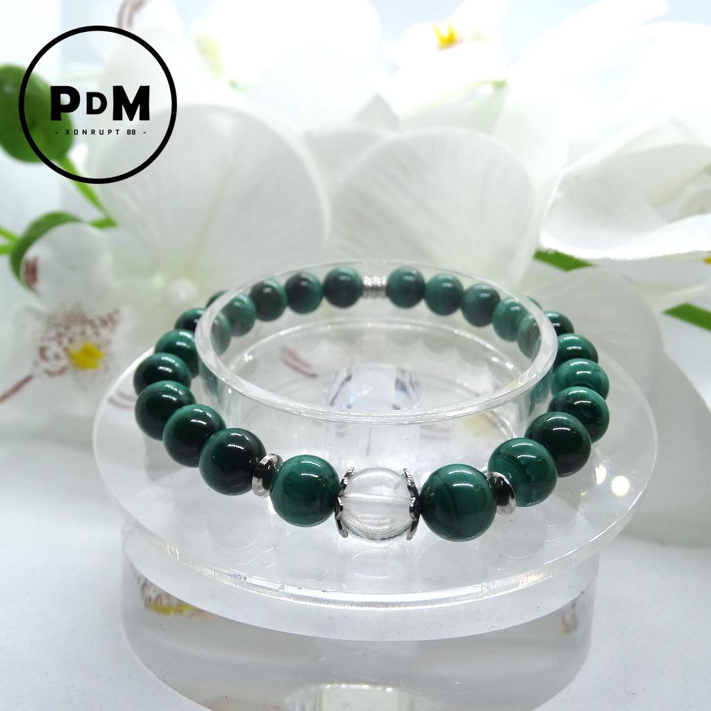 Bracelet Malachite en pierre naturelle perle 8 mm avec perle de Quartz blanc et décor acier