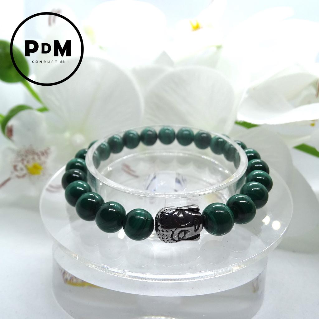 Bracelet Malachite en pierre naturelle perle 8 mm avec tête de Bouddha