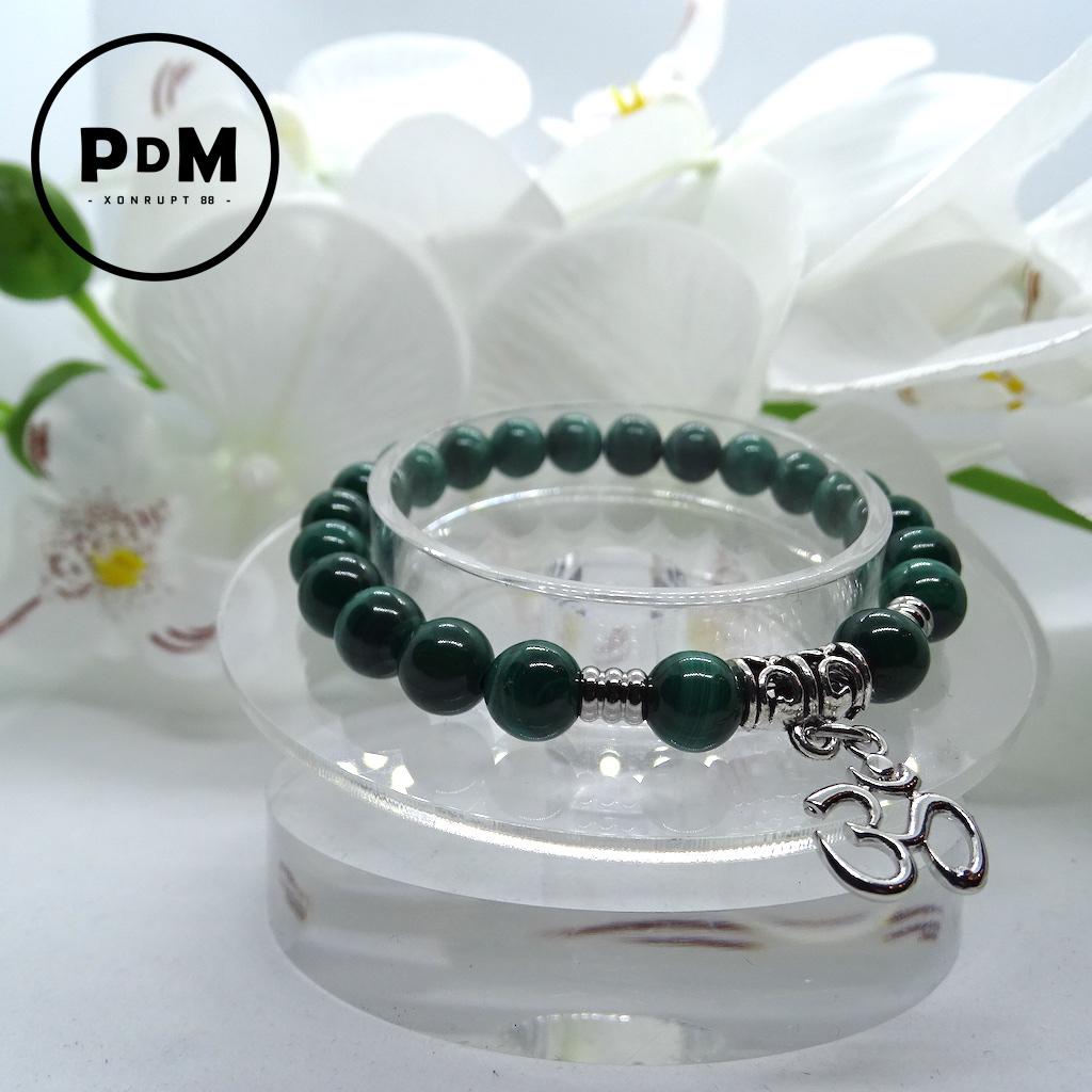 Bracelet Malachite en pierre naturelle perle 8 mm avec symbole ohm