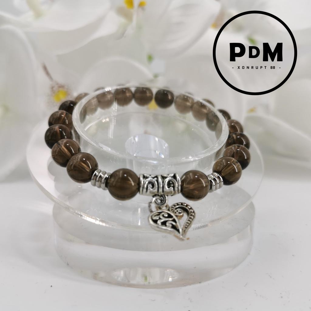 Bracelet Obsidienne Larme d\'Apache en pierre naturelle perle 8 mm avec symbole coeur