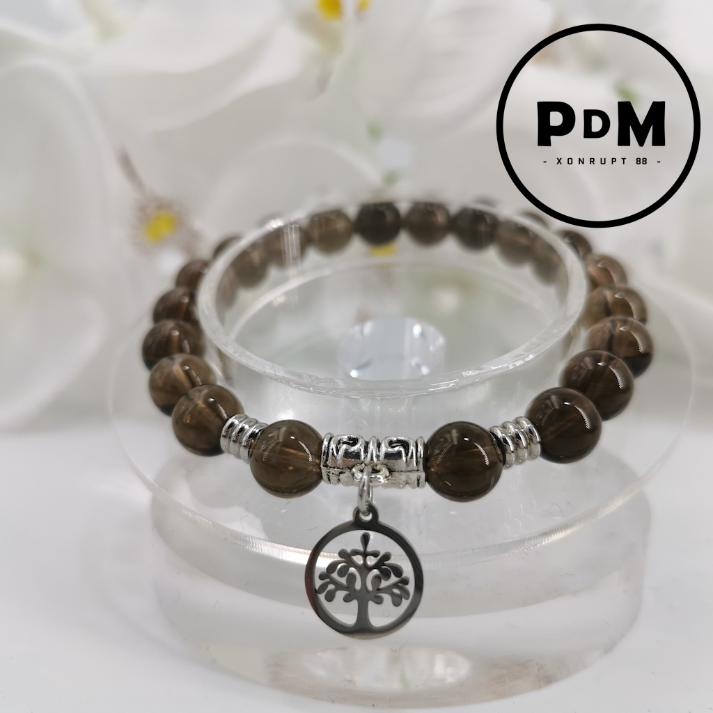 Bracelet Obsidienne Larme d\'Apache en pierre naturelle perle 8 mm avec symbole arbre de vie