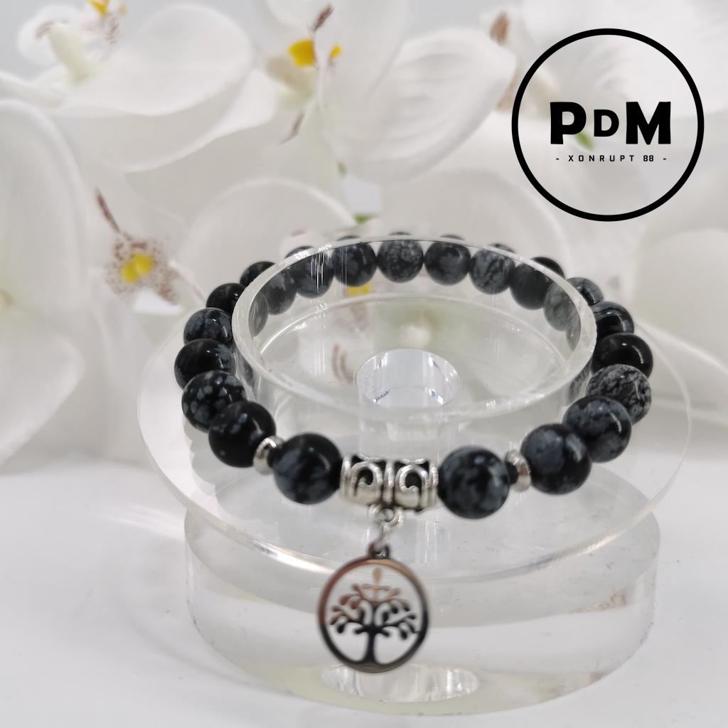 Bracelet Obsidienne neigeuse en pierre naturelle perle 8 mm avec symbole arbre de vie