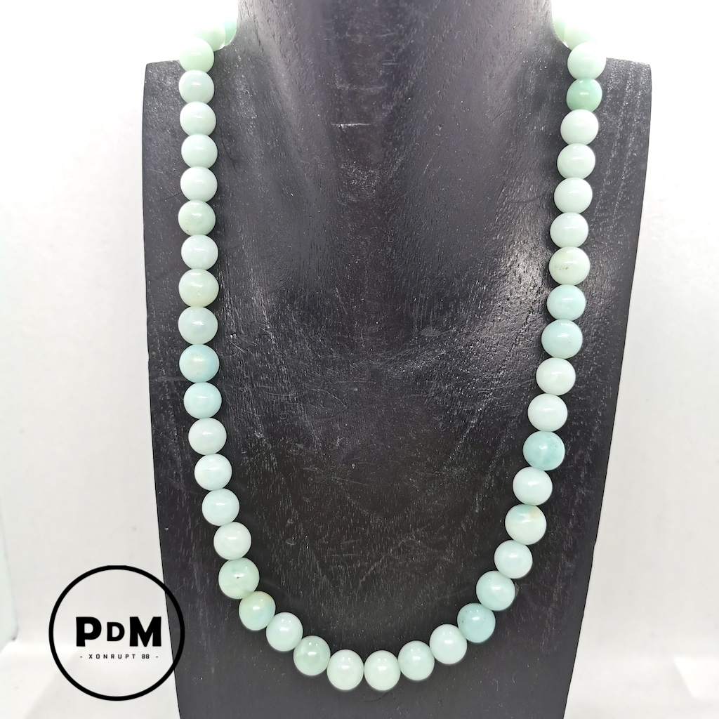 Collier Amazonite en pierre naturelle perle 8mm