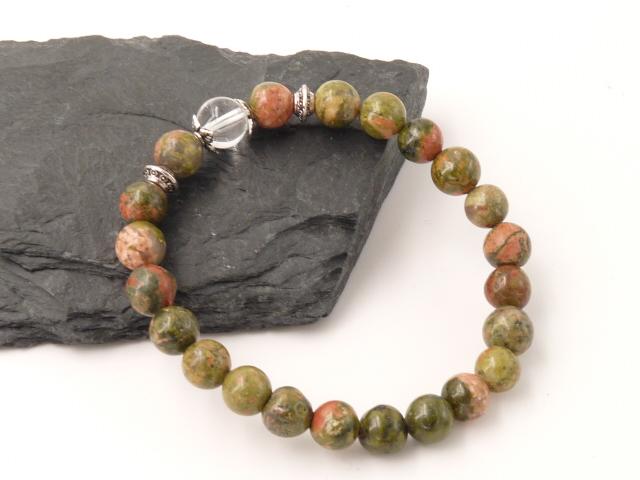Bracelet boule 8mm Unakite avec perle de quartz