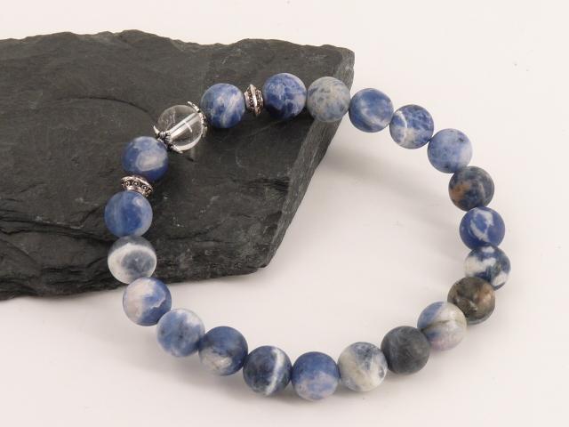 Bracelet boule 8mm Sodalite avec perle de quartz