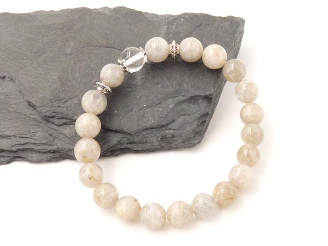 Bracelet boule 8mm Labradorite avec perle de quartz