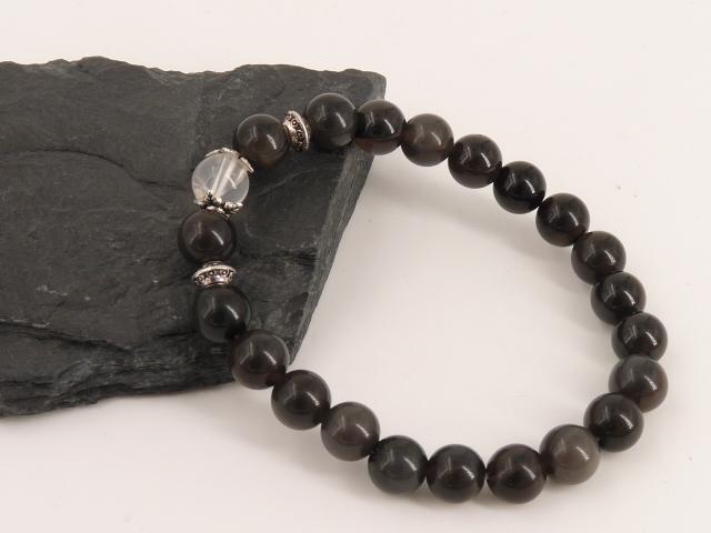 Bracelet boule 8mm Obsidienne Oeil Céleste avec perle de quartz