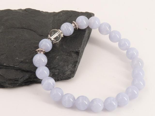 Bracelet boule 8mm Calcédoine avec perle de quartz