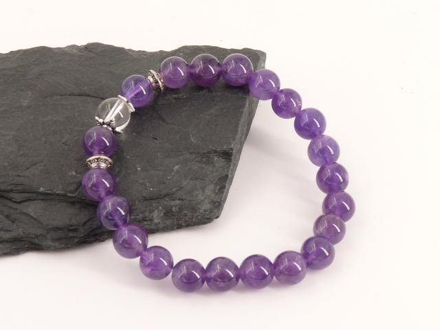 Bracelet boule 8mm Améthyste avec perle de quartz