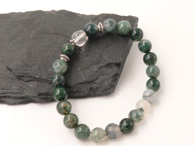 Bracelet boule 8mm Agate Mousse avec perle de quartz