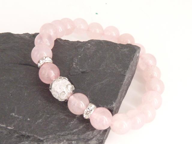 Bracelet boule 8mm Quartz Rose  avec perle de quartz craquelé, strass et acier