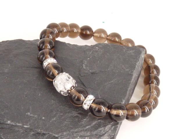 Bracelet boule 8mm Quartz Fumé avec perle de quartz craquelé, strass et acier