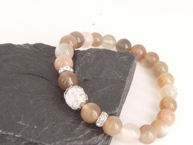 Bracelet boule 8mm Pierre de Lune avec perle de quartz craquelé, strass et acier