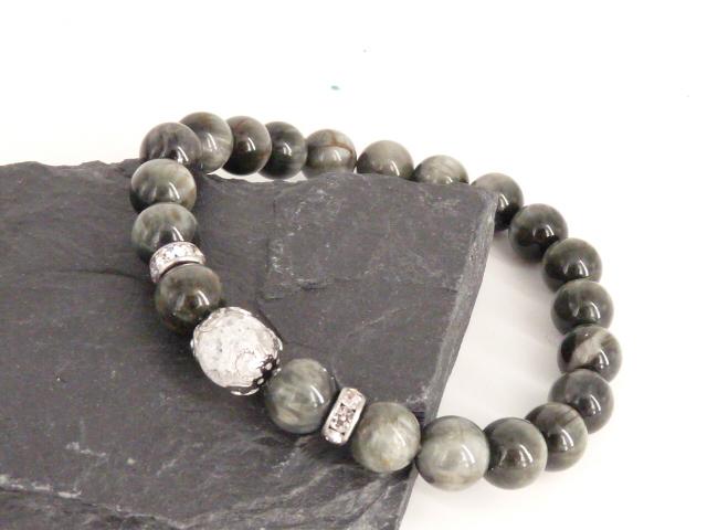 Bracelet boule 8mm Œil de Faucon avec perle de quartz craquelé, strass et acier