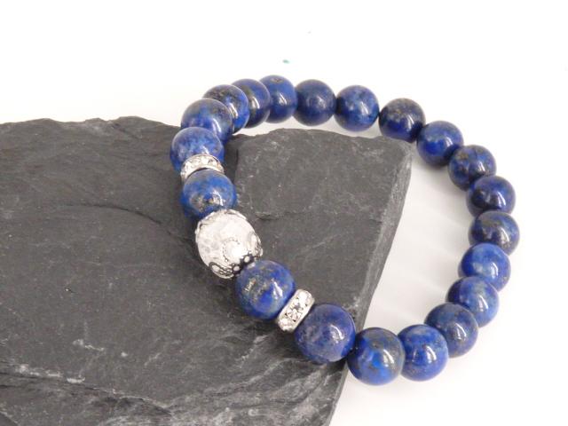 Bracelet boule 8mm Lapis Lazuli avec perle de quartz craquelé, strass et acier